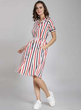 plusS Women White & Red Striped Shirt Dress