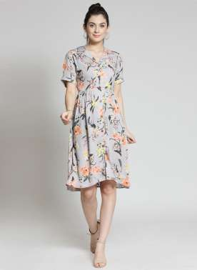 plusS Women Grey Printed Shirt Dress
