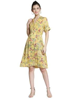 plusS Women Yellow Printed Shirt Dress