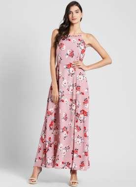 plusS Women Pink Floral Print Maxi Dress