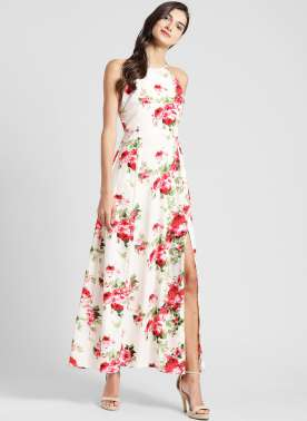 plusS Women Off-White Floral Print Maxi Dress