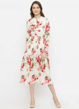 plusS Women Off-White Printed Fit and Flare Dress