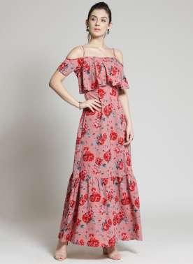 plusS Women Pink Printed Maxi Dress