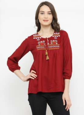 plusS Women Red Embroidered A-Line Top
