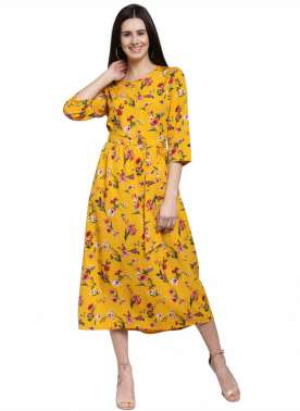 plusS Women Mustard Yellow Printed A-Line Dress