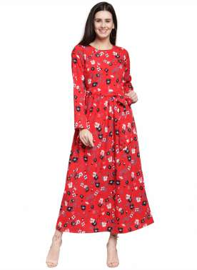 plusS Women Red Printed A-Line Dress