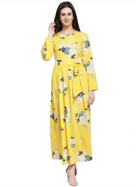 plusS Women Yellow Printed Maxi Dress