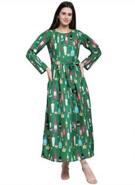 plusS Women Green Printed Maxi Dress