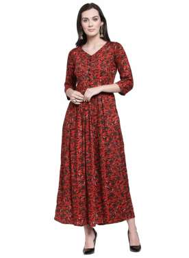 plusS Women Red & Olive Green Printed Fit & Flare Dress
