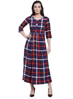plusS Women Navy Blue & Red Checked Fit & Flare Dress