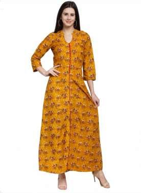 plusS Women Mustard Printed Maxi Dress