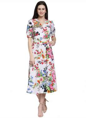 plusS Women White Printed Fit and Flare Dress