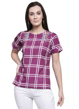 plusS Women Purple & White Checked Top