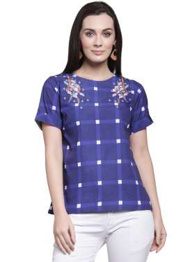 plusS Women Blue & White Checked Top