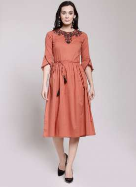 plusS Women Pink Embroidered Fit and Flare Dress