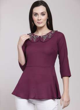 plusS Women Burgundy Solid Peplum Top