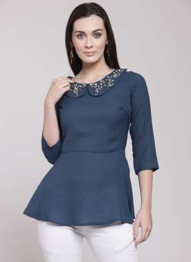 plusS Women Navy Blue Solid Peplum Top