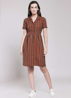 plusS Women Maroon & Black Striped Shirt Dress