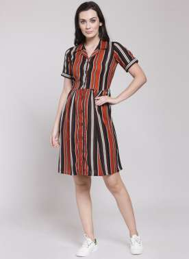 plusS Women Black & Maroon Striped Shirt Dress