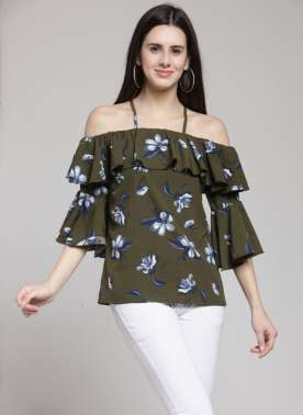 plusS Women Olive Green & Blue Floral Print Bardot Top