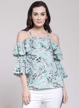 plusS Women Blue Printed A-Line Top