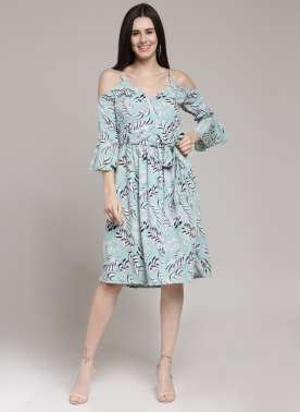 plusS Women Blue Printed A-Line Dress