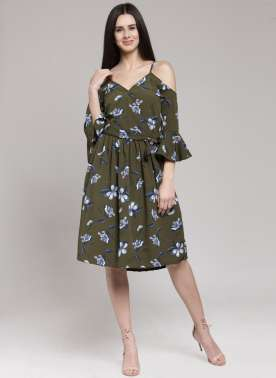 plusS Women Olive Green Printed A-Line Dress