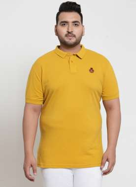 plusS Men Yellow Polo T-shirt
