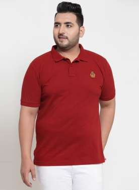 plusS Men Maroon Polo T-shirt