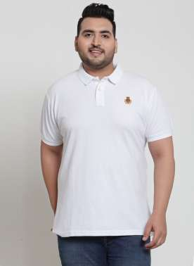 plusS Men White Polo T-shirt