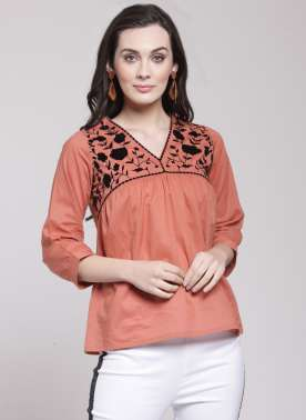 plusS Women Rust Brown Printed A-Line Top