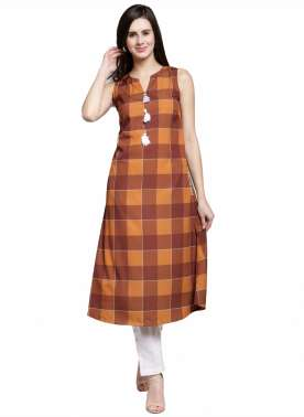 plusS Women Orange Checked A-Line Kurta