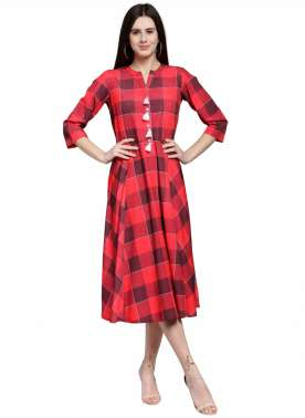 plusS Women Red Checked A-Line Dress