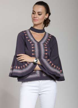 plusS Women Purple Embroidered A-Line Top