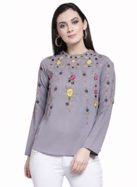plusS Women Grey Embroidered Top