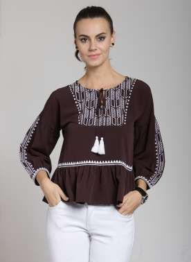 plusS Women Brown Printed Peplum Top