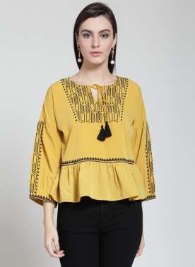plusS Women Mustard Embellished Top
