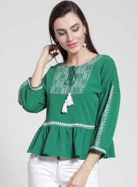 plusS Women Green Solid Peplum Top