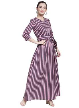 plusS Women Navy Blue Striped Maxi Dress