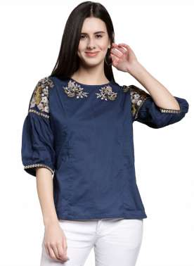 plusS Women Blue Solid Top with Embroidered Detail