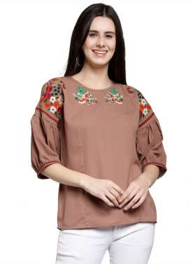 plusS Women Brown Solid Top with Embroidered Detail