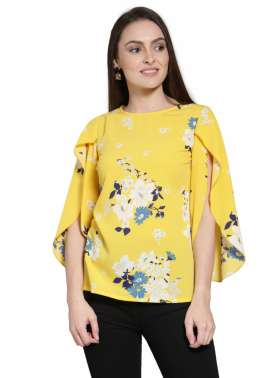 plusS Women Yellow Printed Top