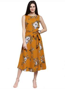 plusS Women Mustard Printed A-Line Dress