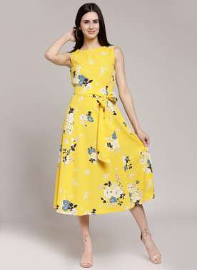 plusS Women Yellow Printed A-Line Dress