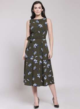 plusS Women Olive Green Printed Fit and Flare Dress