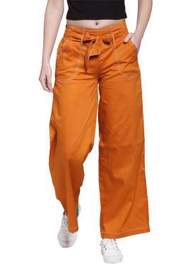 plusS Women Orange Flared Solid Palazzos