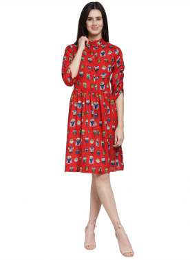 plusS Women Red Printed Fit & Flare Dress