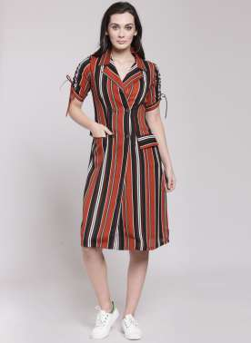 plusS Women Brown & Black Striped Shirt Dress