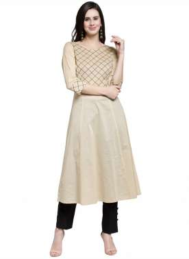 plusS Women Beige Yoke Design A-Line Kurta
