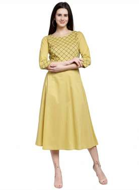 plusS Women Yellow Yoke Design A-Line Kurta